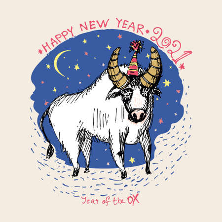 Year of the Ox 2021 sketch vector illustration. New Year Greeting Card. Funny white bull against the background of the starry sky. Illustration of year of the Ox. 일러스트