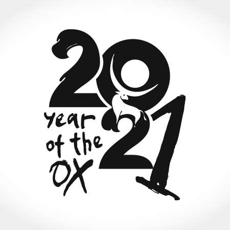 Year of the Ox 2021 in Chinese zodiac. Symbol of 2021 White ox. Vector element for New Year's design in flat style.
