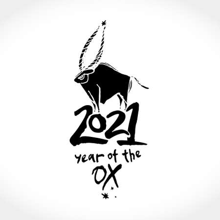 Year of the Ox 2021 vector template. Constellation of the bull. Chinese New Year Greeting Card. Black brush illustration of year of the Ox.