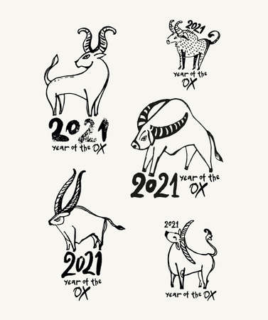 Year of the Ox 2021. Set of vector templates for New Year's design. Linear sketch illustration. Lunar calendar, constellation bull. Chinese New Year.