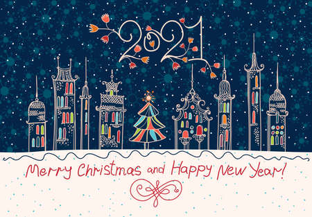 Merry Christmas and Happy New Year! 2021 New Year. Beautiful card with a winter holiday town.
