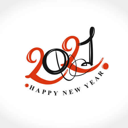 Handwritten 2021 vector . Flat vector template 2021 with wishes. Happy New Year. Design template card, cover, calendar, brochure, poster, banner.