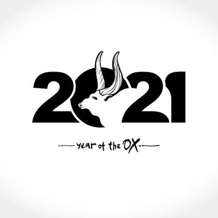 Year of the Ox 2021 in Chinese zodiac. Black flat illustration White bull symbol of the year 2021. Vector element for New Year's design.