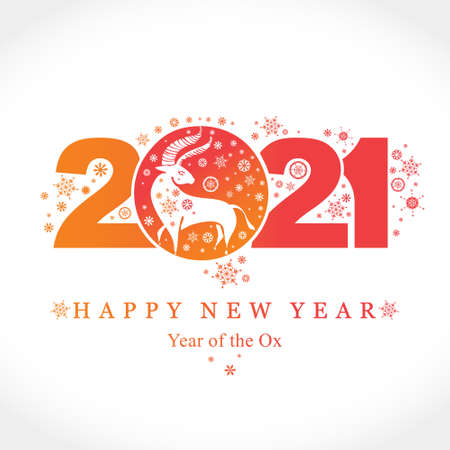 Year of the Ox 2021. Vector template New Year's design on the Chinese calendar. White buffalo 2021 against the background of 2021 and snowflakes. 일러스트