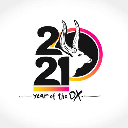 Year of the Ox 2021 in Chinese zodiac. Flat illustration. White bull symbol of the year 2021. Vector element for New Year's design.