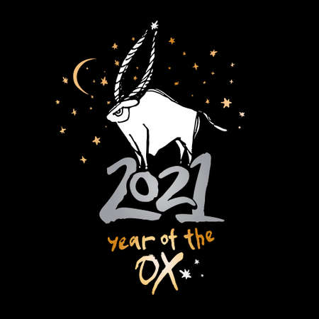 Beautiful card white bull and gold stars on a black background. Year of the Ox 2021 vector template. Constellation of the bull. Chinese New Year Greeting Card. 일러스트