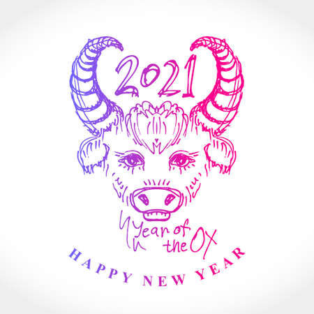 Year of the Ox 2021. Sketch illustration of a cute calf. Vector element for New Year's design of 2021 year of the Ox.