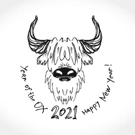 Year of the Ox 2021. Sketch illustration of a bull. Vector element for New Year's design of 2021 year of the Ox.