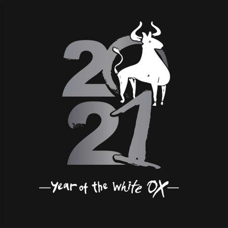 Vector sketch illustration. Year of the Ox 2021. Chinese New Year. Black background. Calligraphy card.