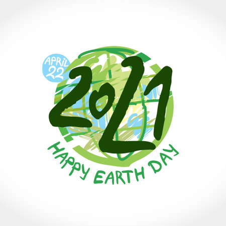 Happy Earth Day 2021. April 22. Painted green planet and handwritten template. Vector illustration.