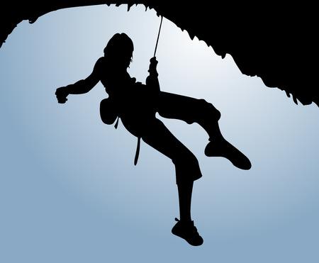 adrenaline: Vrouwen klimmen op de rots  Stock Illustratie