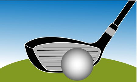 sand trap: Golf Club Iron Vector Illustration with blue sky