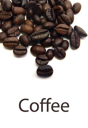 Coffee Beans Isolated on white background with text
