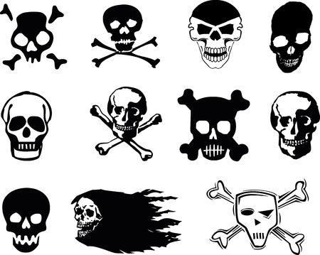 Black skulls on white background