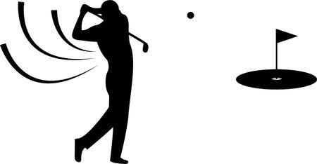 Black golfer silhouette on white background Stock Photo