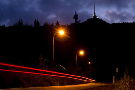 Liberec mountain Jested in the dark with carlights