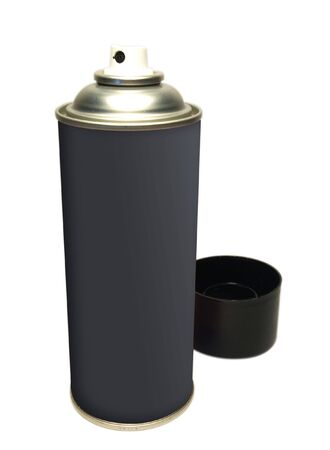 Black spray tin on white background
