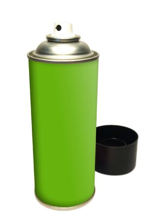 Green spray tin on white background Stock Photo