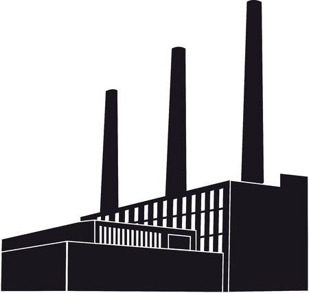 Black Factory with orange round Stock Photo
