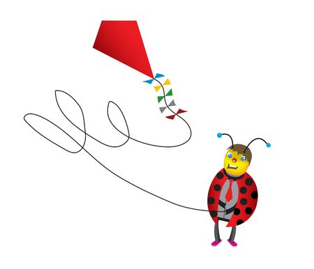 Funny Ladybug cartoon on white background