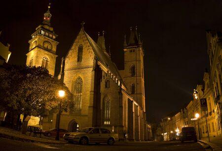 Night shot in Hradec Kralove Street, czech republic Stock Photo