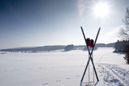 cross country ski trail with ski and chopsticks photo