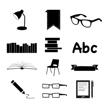 Black Books and Reading icons set Stock Photo