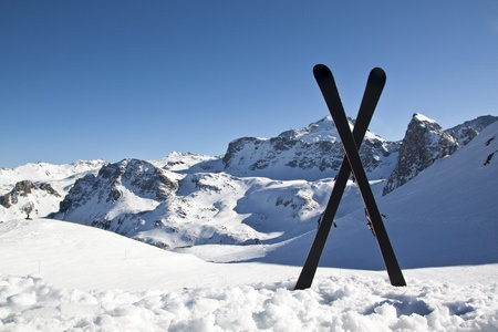 Pair of cross skis in snow,Highmountains