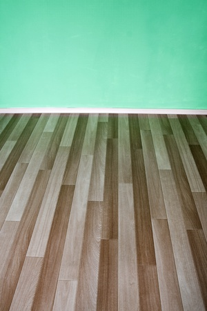 Empty room with green wall and wooden flor  Stock Photo