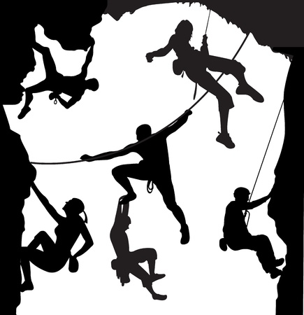 Climbing illustration set on the rock  Stock Photo