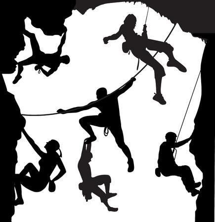 climbing sport: Climbing illustration set on the rock  Stock Photo
