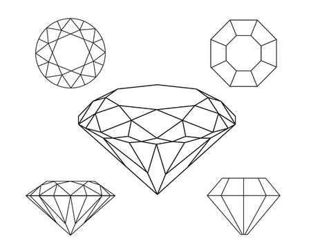 diamond ring: Diamonds wireframe on white background