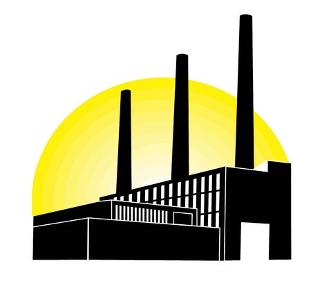 Black Factory with yellow round  photo