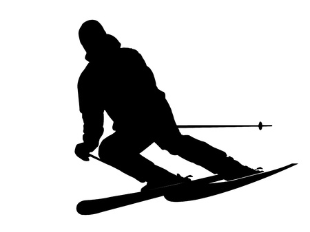 skier silhouette on white background