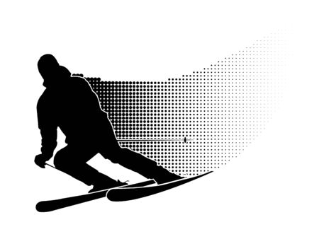 skier silhouette on white background photo