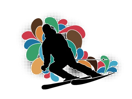 cool boys: skier silhouette on white background