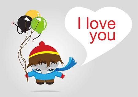 Cute illustration boy holding balloons  illustration