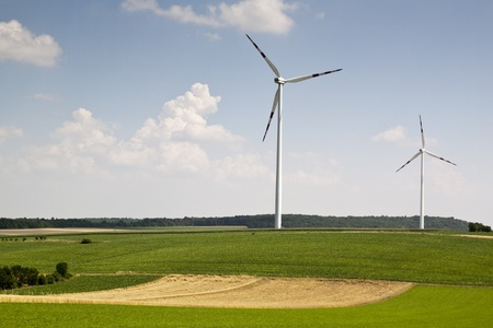 vestas: windpower with sun and blue sky Stock Photo