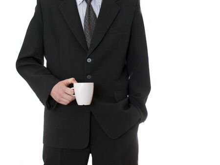 businessman holding coffee cup isolated on white background photo