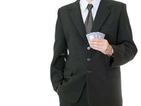 Businessman holding four poker cards Stock Photo - 13456436
