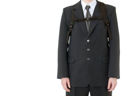 business man with backpack on white background photo