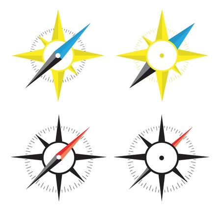 Four compass on white background
