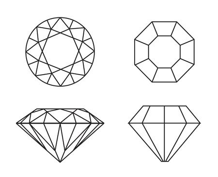 diamond ring: Diamonds wireframe on white background Stock Photo