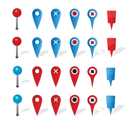 map pin: Group of map navigation icons and pin on white background