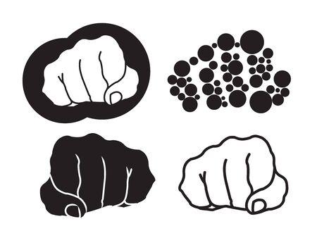 Four fist illustration on white background illustration