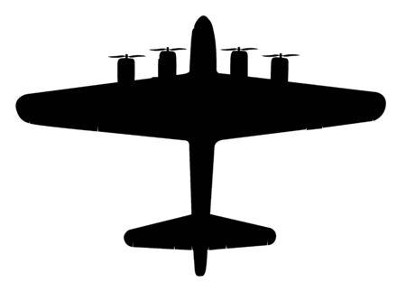black silhouette airplane on white background photo