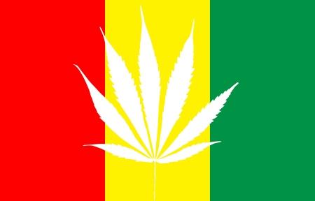 marihuana leaf: rastafarian reggae flag with marihuana leaf