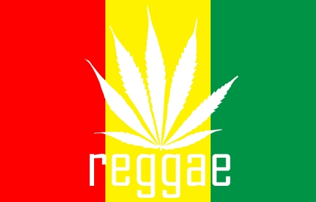 rastafarian reggae flag with marihuana leaf photo