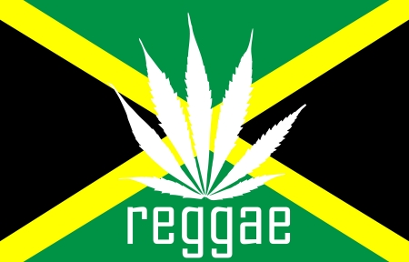 Jamaican reggae flag with marihuana leaf and tag photo