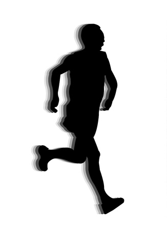 black runner silhouettes on white backgound photo